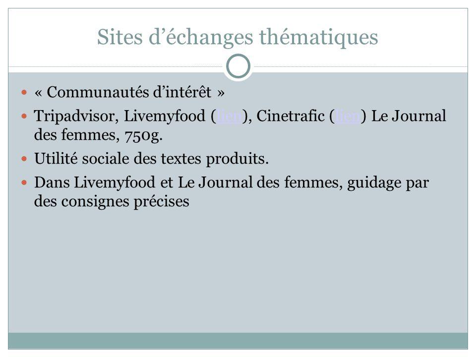 Sites d'échanges thématiques « Communautés d'intérêt » Tripadvisor, Livemyfood (lien), Cinetrafic (lien) Le Journal des femmes, 750g.lien Utilité soci