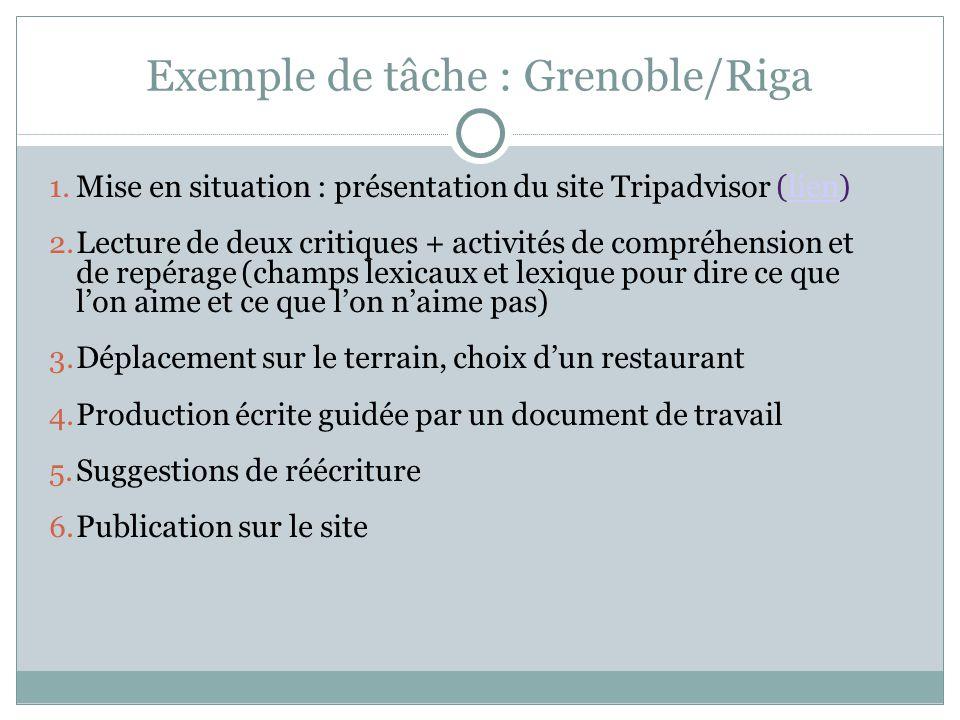 Exemple de tâche : Grenoble/Riga 1. Mise en situation : présentation du site Tripadvisor (lien)lien 2. Lecture de deux critiques + activités de compré