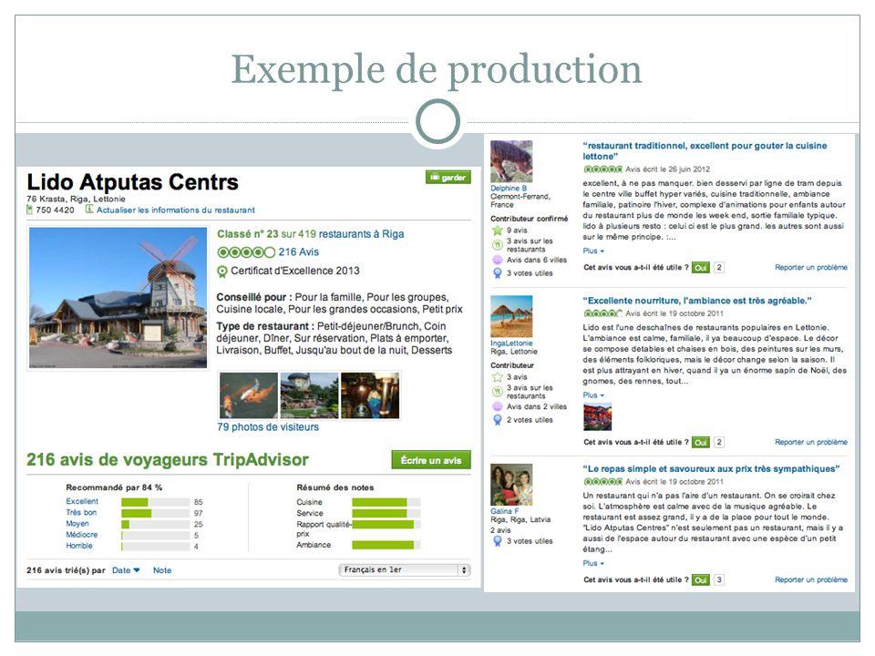 Exemple de production