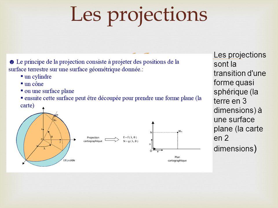  Les projections Les projections sont la transition d'une forme quasi sphérique (la terre en 3 dimensions) à une surface plane (la carte en 2 dimensi