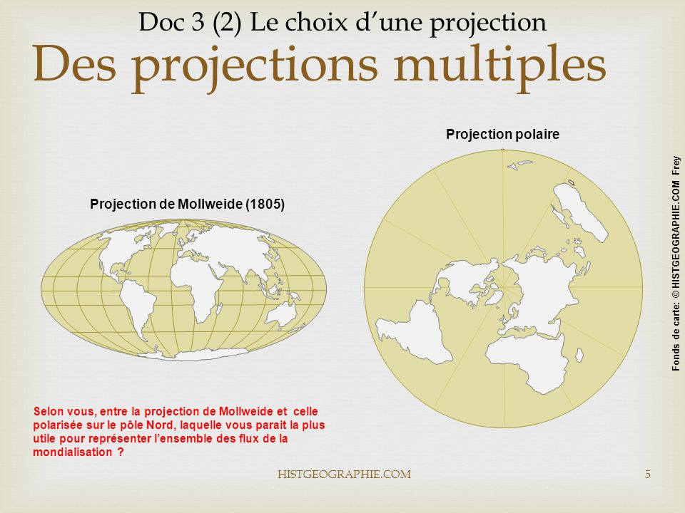 Projection polaire Projection de Mollweide (1805) HISTGEOGRAPHIE.COM5 Des projections multiples Fonds de carte: © HISTGEOGRAPHIE.COM Frey Doc 3 (2) Le choix d'une projection Selon vous, entre la projection de Mollweide et celle polarisée sur le pôle Nord, laquelle vous parait la plus utile pour représenter l'ensemble des flux de la mondialisation ?