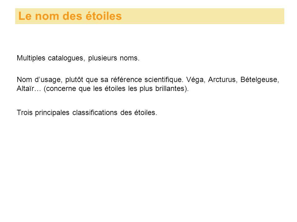 Multiples catalogues, plusieurs noms. Le nom des étoiles Nom d'usage, plutôt que sa référence scientifique. Véga, Arcturus, Bételgeuse, Altaïr… (conce