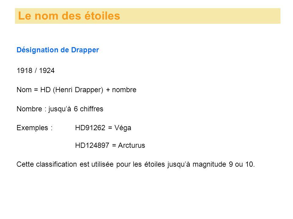 Désignation de Drapper Le nom des étoiles 1918 / 1924 Nom = HD (Henri Drapper) + nombre Nombre : jusqu'à 6 chiffres Exemples : HD91262 = Véga HD124897