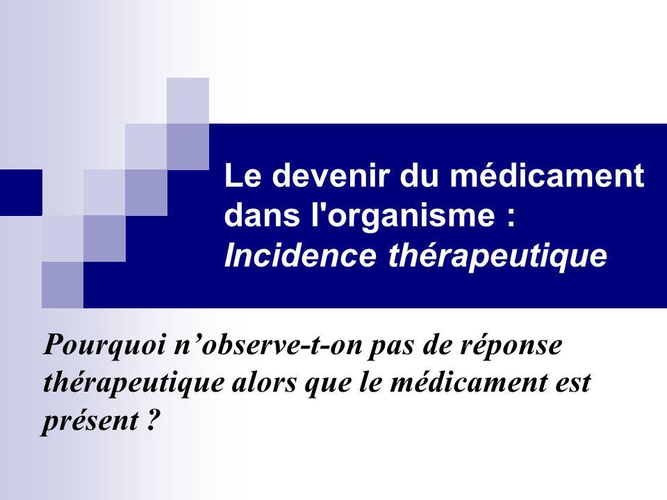 Le devenir du médicament dans l'organisme : Incidence thérapeutique Pourquoi n'observe-t-on pas de réponse thérapeutique alors que le médicament est p
