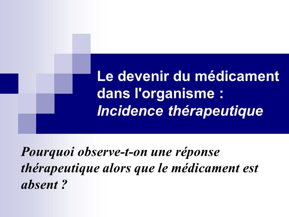 Le devenir du médicament dans l'organisme : Incidence thérapeutique Pourquoi observe-t-on une réponse thérapeutique alors que le médicament est absent