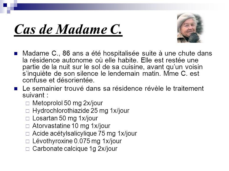 Cas de Madame C. Madame C., 86 ans a été hospitalisée suite à une chute dans la résidence autonome où elle habite. Elle est restée une partie de la nu