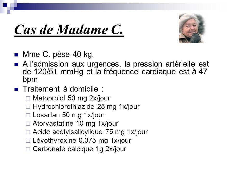 Cas de Madame C. Mme C. pèse 40 kg. A l'admission aux urgences, la pression artérielle est de 120/51 mmHg et la fréquence cardiaque est à 47 bpm Trait
