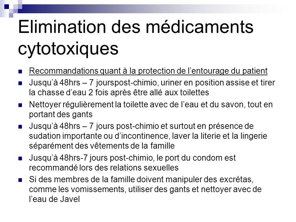 Elimination des médicaments cytotoxiques Recommandations quant à la protection de l'entourage du patient Jusqu'à 48hrs – 7 jourspost-chimio, uriner en