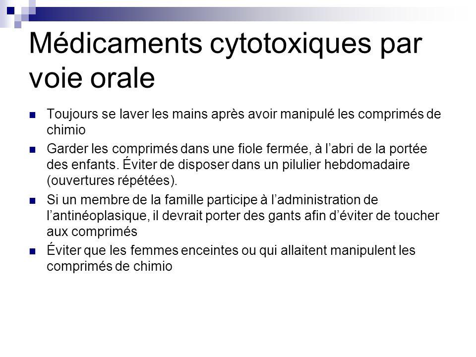 Médicaments cytotoxiques par voie orale Toujours se laver les mains après avoir manipulé les comprimés de chimio Garder les comprimés dans une fiole f