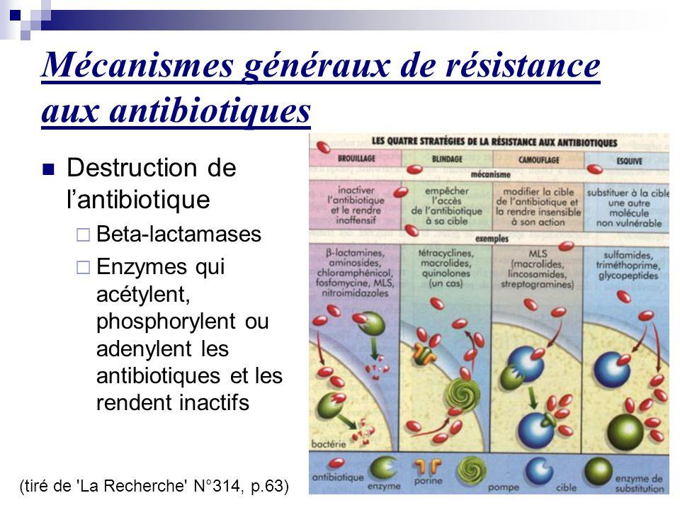 Mécanismes généraux de résistance aux antibiotiques (tiré de 'La Recherche' N°314, p.63) Destruction de l'antibiotique  Beta-lactamases  Enzymes qui