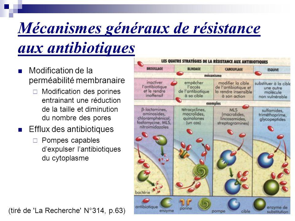 Mécanismes généraux de résistance aux antibiotiques (tiré de 'La Recherche' N°314, p.63) Modification de la perméabilité membranaire  Modification de