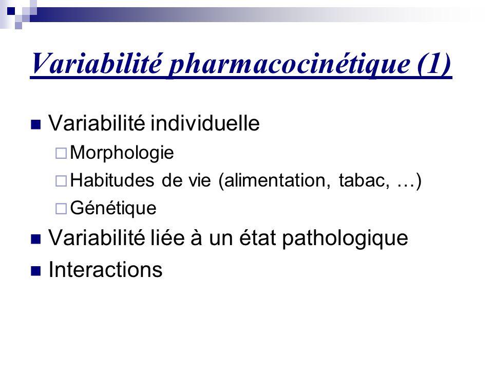 Variabilité pharmacocinétique (1) Variabilité individuelle  Morphologie  Habitudes de vie (alimentation, tabac, …)  Génétique Variabilité liée à un