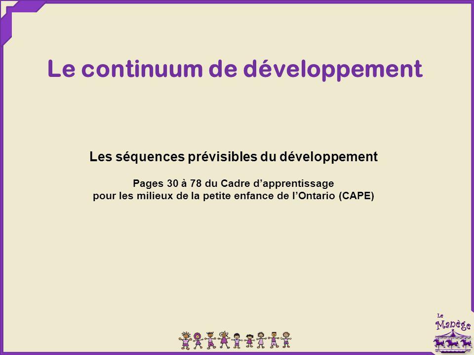 Le continuum de développement Les séquences prévisibles du développement Pages 30 à 78 du Cadre d'apprentissage pour les milieux de la petite enfance de l'Ontario (CAPE)