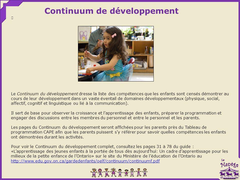 Continuum de développement Le Continuum du développement dresse la liste des compétences que les enfants sont censés démontrer au cours de leur développement dans un vaste éventail de domaines développementaux (physique, social, affectif, cognitif et linguistique ou lié à la communication).