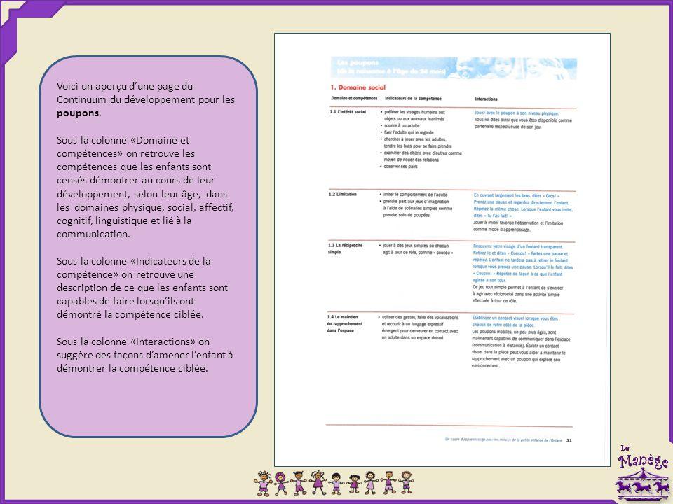 Voici un aperçu d'une page du Continuum du développement pour les poupons. Sous la colonne «Domaine et compétences» on retrouve les compétences que le