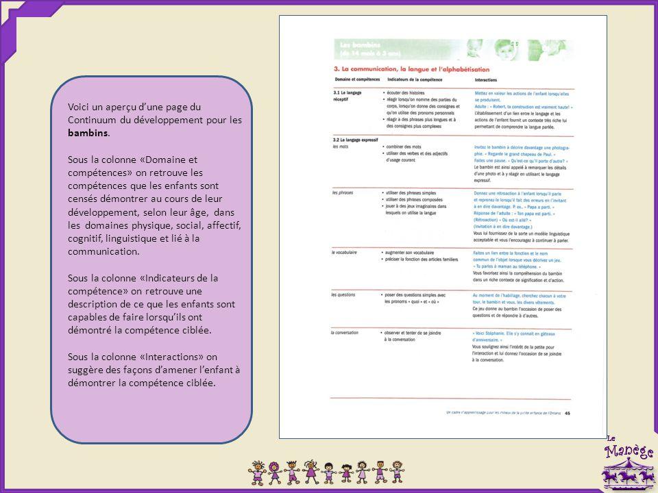 Voici un aperçu d'une page du Continuum du développement pour les bambins. Sous la colonne «Domaine et compétences» on retrouve les compétences que le