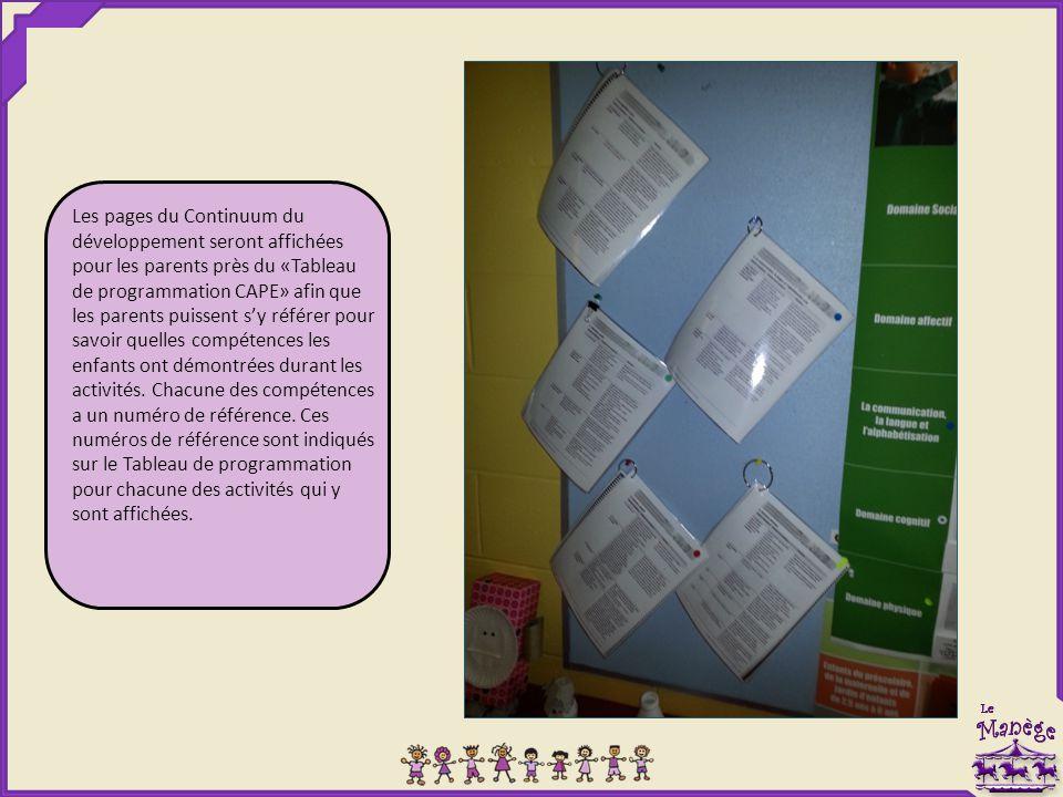 Les pages du Continuum du développement seront affichées pour les parents près du «Tableau de programmation CAPE» afin que les parents puissent s'y référer pour savoir quelles compétences les enfants ont démontrées durant les activités.