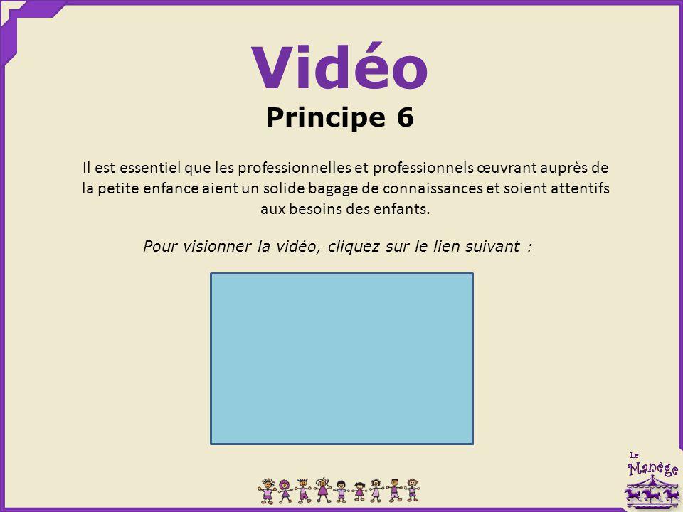 Vidéo Principe 6 Pour visionner la vidéo, cliquez sur le lien suivant : Il est essentiel que les professionnelles et professionnels œuvrant auprès de la petite enfance aient un solide bagage de connaissances et soient attentifs aux besoins des enfants.