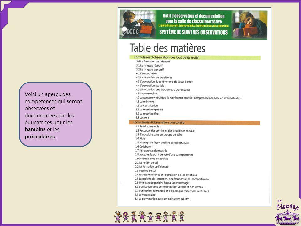 Voici un aperçu des compétences qui seront observées et documentées par les éducatrices pour les bambins et les préscolaires.