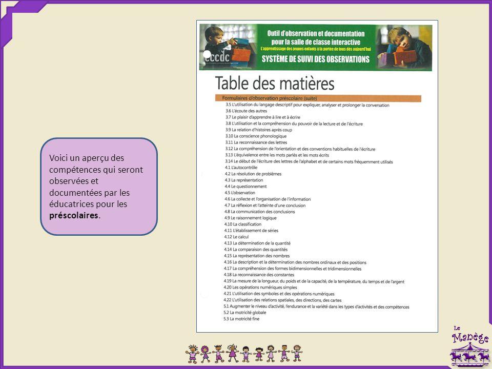 Voici un aperçu des compétences qui seront observées et documentées par les éducatrices pour les préscolaires.