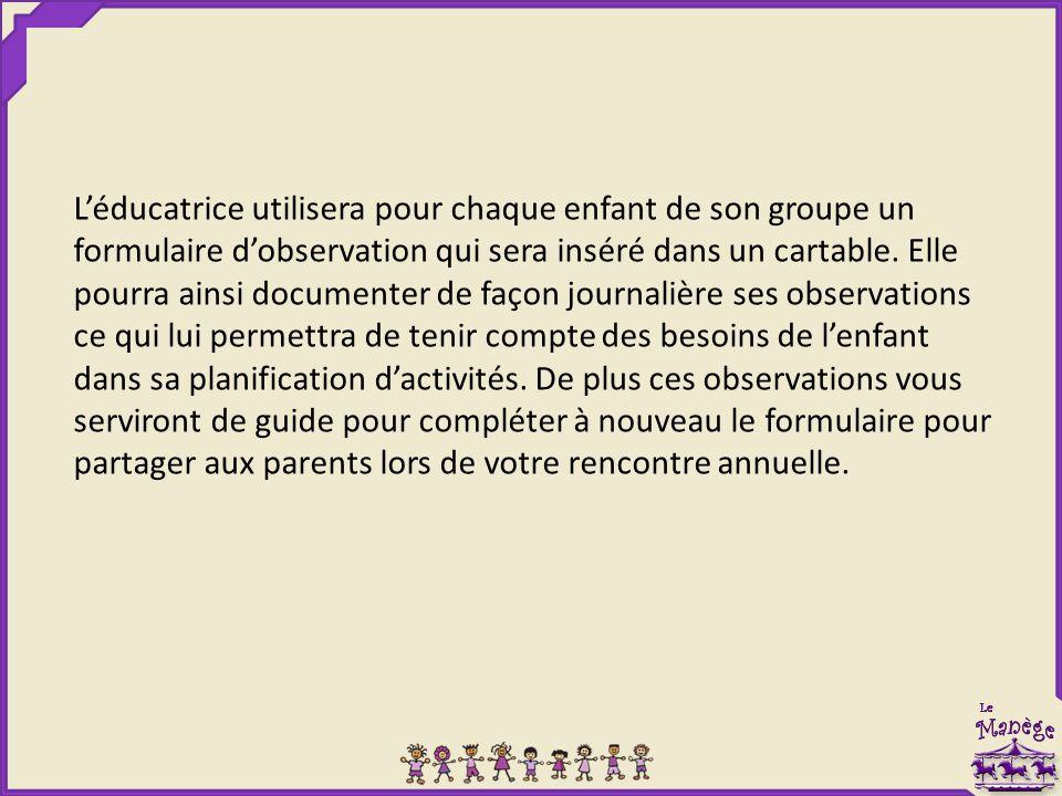 L'éducatrice utilisera pour chaque enfant de son groupe un formulaire d'observation qui sera inséré dans un cartable. Elle pourra ainsi documenter de
