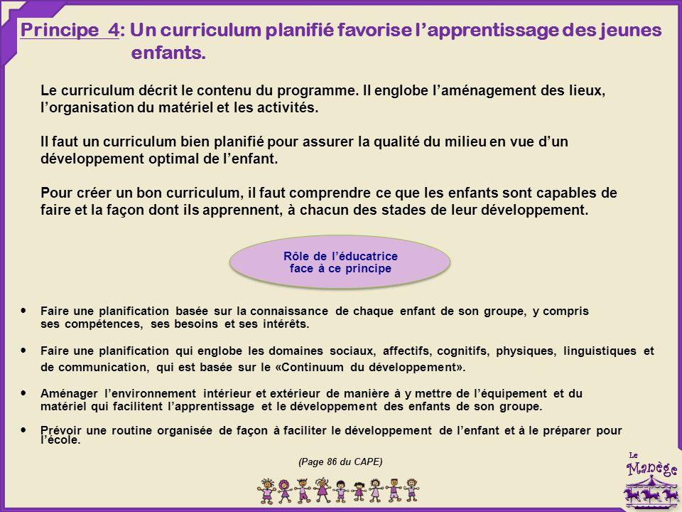 Le curriculum décrit le contenu du programme. Il englobe l'aménagement des lieux, l'organisation du matériel et les activités. Il faut un curriculum b