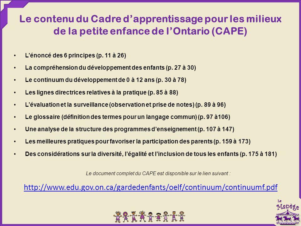 Le contenu du Cadre d'apprentissage pour les milieux de la petite enfance de l'Ontario (CAPE) L'énoncé des 6 principes (p. 11 à 26) La compréhension d