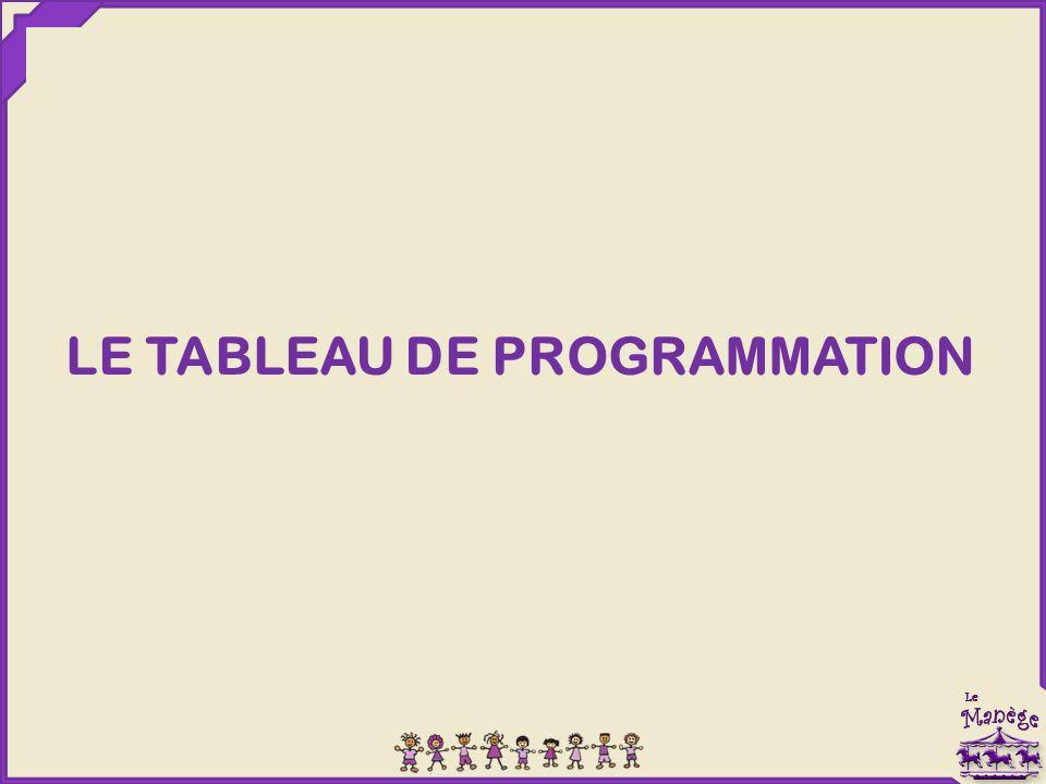 LE TABLEAU DE PROGRAMMATION