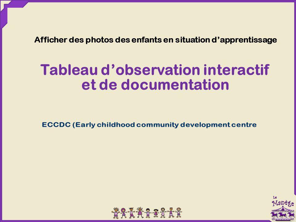 Afficher des photos des enfants en situation d'apprentissage Tableau d'observation interactif et de documentation