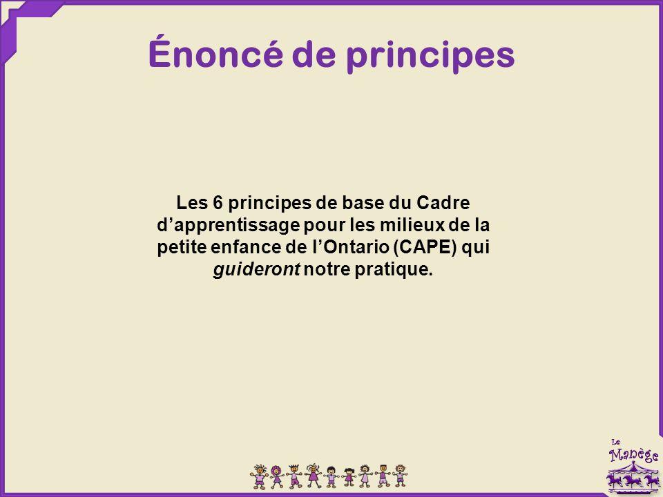 Énoncé de principes Les 6 principes de base du Cadre d'apprentissage pour les milieux de la petite enfance de l'Ontario (CAPE) qui guideront notre pratique.