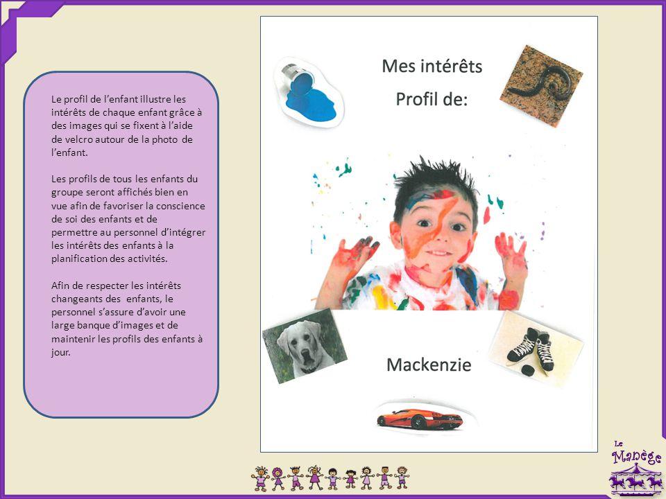Le profil de l'enfant illustre les intérêts de chaque enfant grâce à des images qui se fixent à l'aide de velcro autour de la photo de l'enfant. Les p