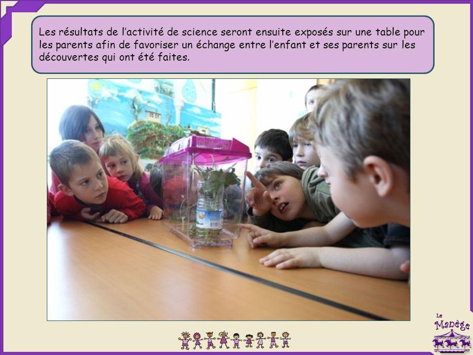 Les résultats de l'activité de science seront ensuite exposés sur une table pour les parents afin de favoriser un échange entre l'enfant et ses parents sur les découvertes qui ont été faites.