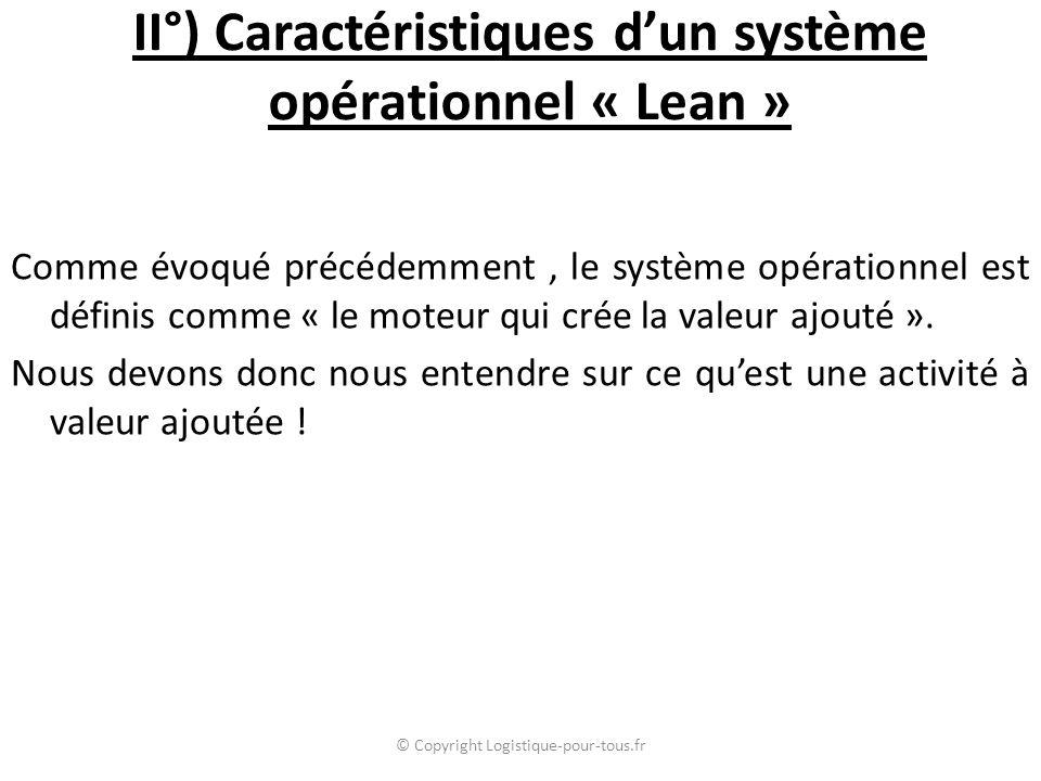 II°) Caractéristiques d'un système opérationnel « Lean » Comme évoqué précédemment, le système opérationnel est définis comme « le moteur qui crée la valeur ajouté ».