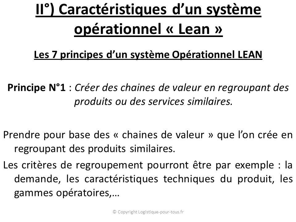 II°) Caractéristiques d'un système opérationnel « Lean » Les 7 principes d'un système Opérationnel LEAN Principe N°1 : Créer des chaines de valeur en regroupant des produits ou des services similaires.