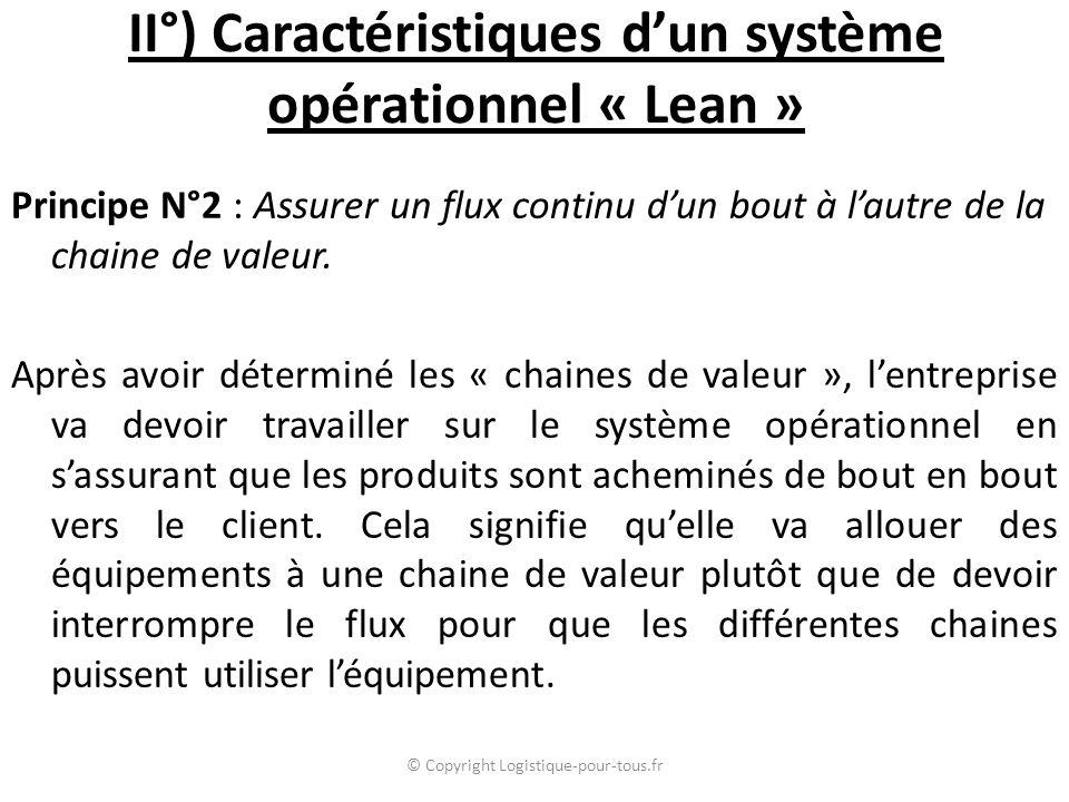 II°) Caractéristiques d'un système opérationnel « Lean » Principe N°2 : Assurer un flux continu d'un bout à l'autre de la chaine de valeur.