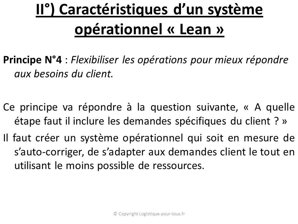 II°) Caractéristiques d'un système opérationnel « Lean » Principe N°4 : Flexibiliser les opérations pour mieux répondre aux besoins du client. Ce prin