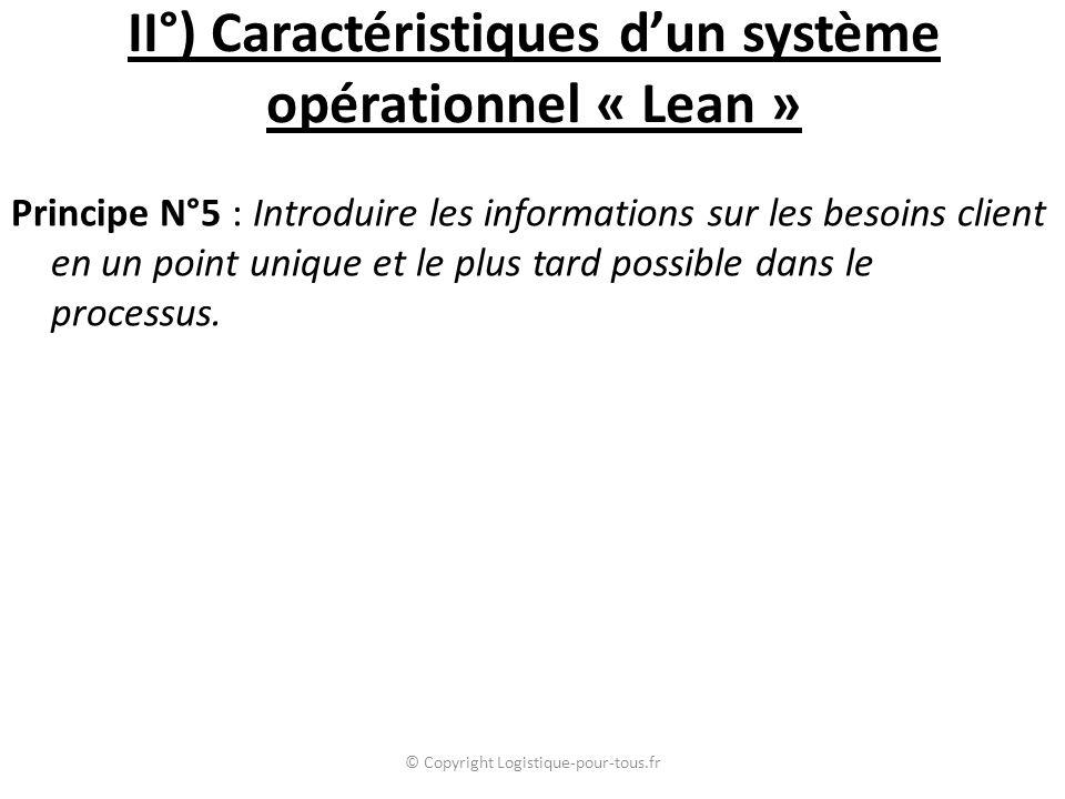 II°) Caractéristiques d'un système opérationnel « Lean » Principe N°5 : Introduire les informations sur les besoins client en un point unique et le plus tard possible dans le processus.