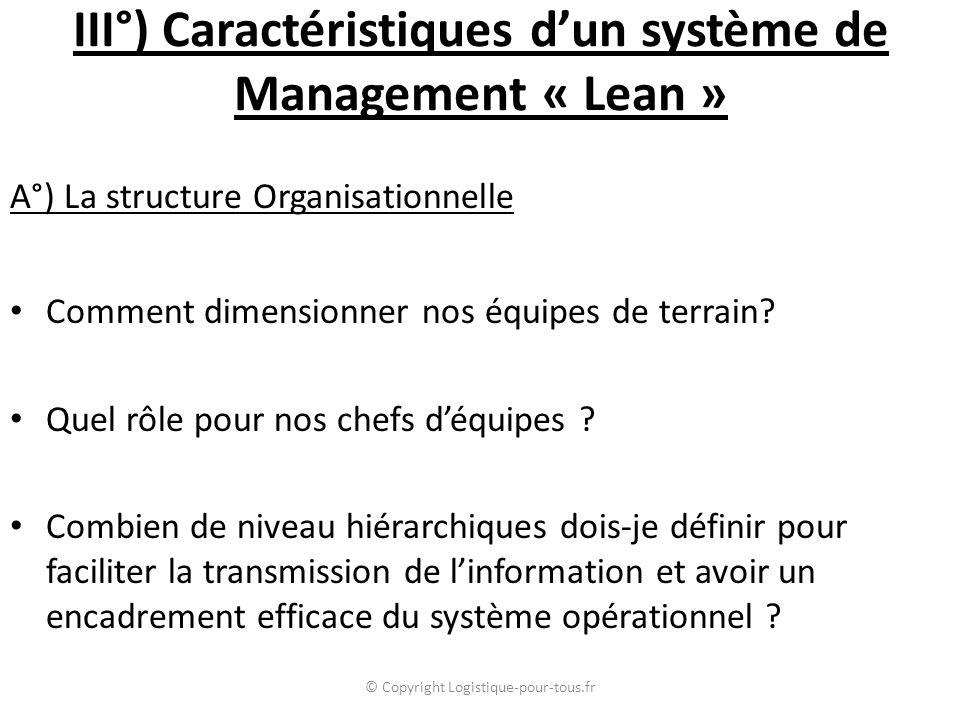 III°) Caractéristiques d'un système de Management « Lean » A°) La structure Organisationnelle Comment dimensionner nos équipes de terrain? Quel rôle p