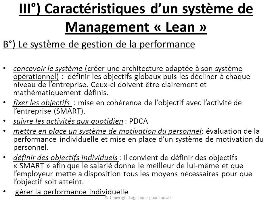 III°) Caractéristiques d'un système de Management « Lean » B°) Le système de gestion de la performance concevoir le système (créer une architecture adaptée à son système opérationnel) : définir les objectifs globaux puis les décliner à chaque niveau de l'entreprise.