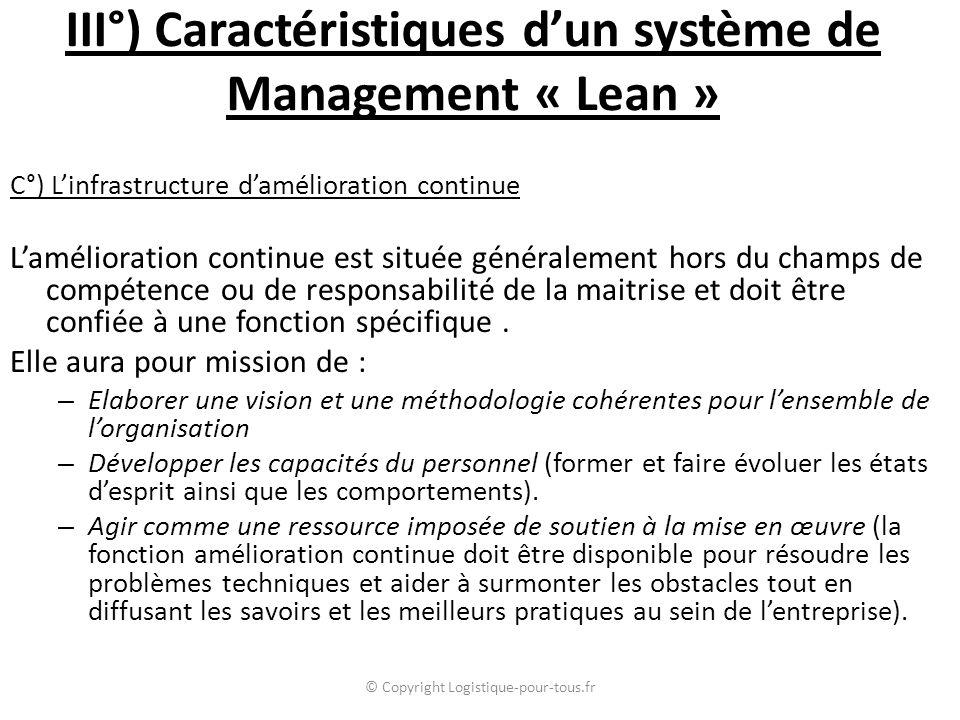 III°) Caractéristiques d'un système de Management « Lean » C°) L'infrastructure d'amélioration continue L'amélioration continue est située généralement hors du champs de compétence ou de responsabilité de la maitrise et doit être confiée à une fonction spécifique.