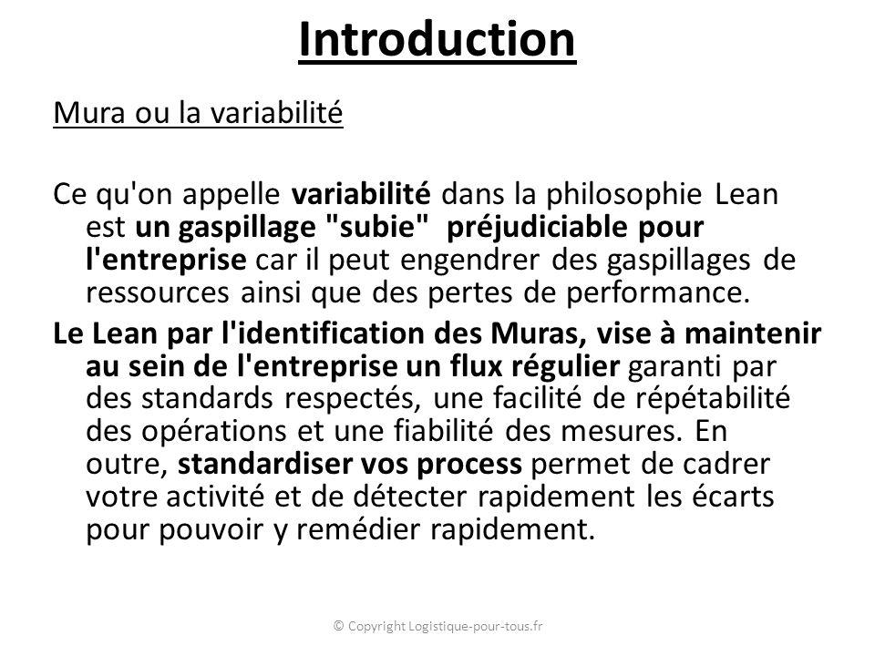 Mura ou la variabilité Ce qu'on appelle variabilité dans la philosophie Lean est un gaspillage