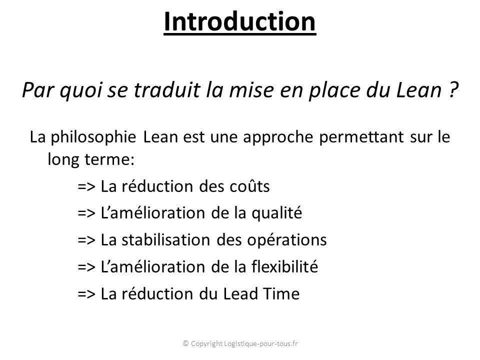 Par quoi se traduit la mise en place du Lean ? La philosophie Lean est une approche permettant sur le long terme: => La réduction des coûts => L'améli