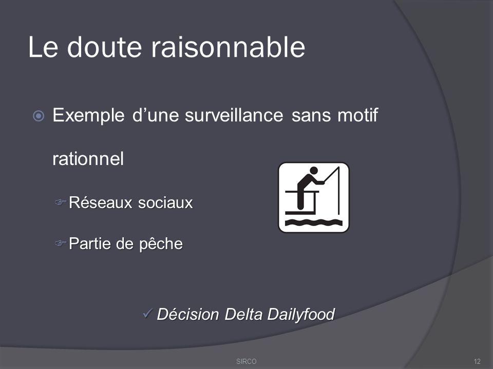 Le doute raisonnable  Exemple d'une surveillance sans motif rationnel  Réseaux sociaux  Partie de pêche Décision Delta Dailyfood Décision Delta Dailyfood 12SIRCO