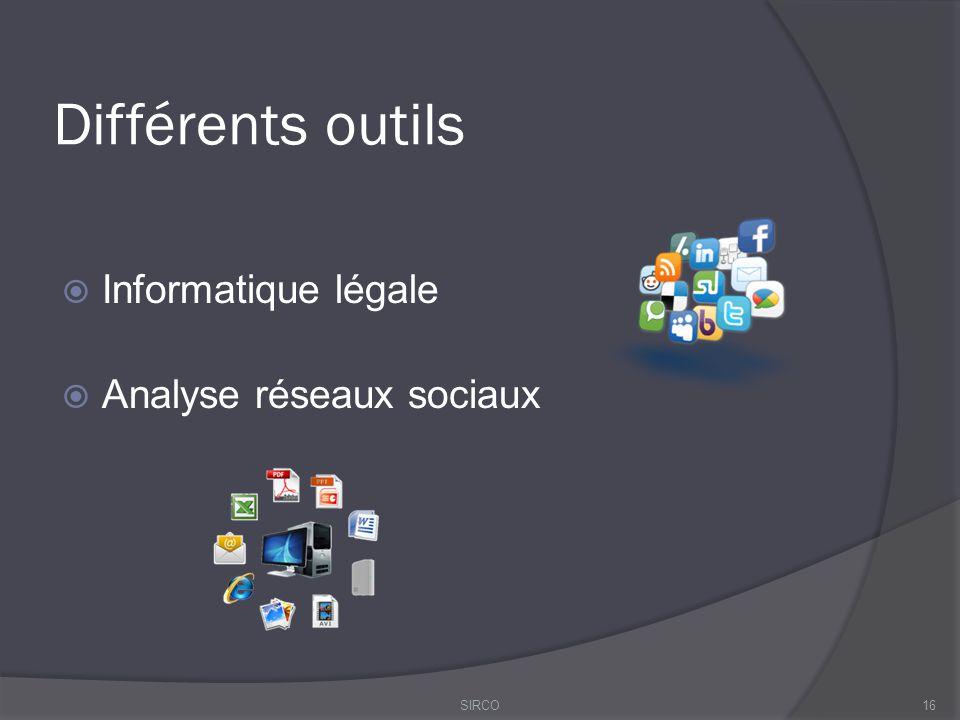 Différents outils  Informatique légale  Analyse réseaux sociaux 16SIRCO