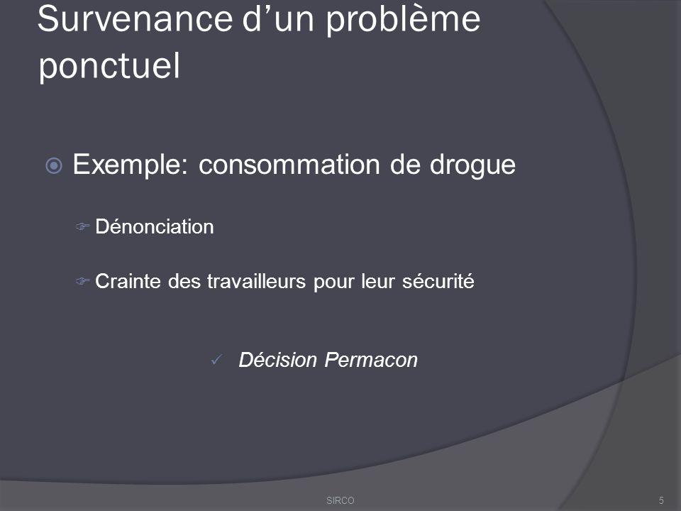 Survenance d'un problème ponctuel  Exemple: consommation de drogue  Dénonciation  Crainte des travailleurs pour leur sécurité Décision Permacon 5SIRCO