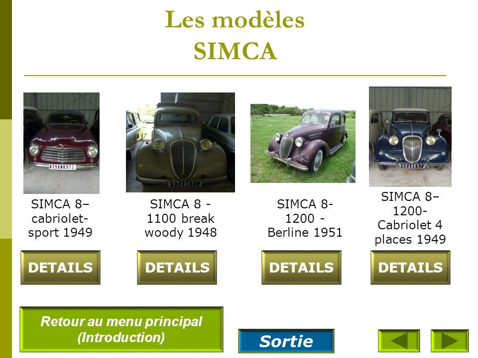 Les modèles SIMCA SIMCA 5– coupé 1939 DETAILS SIMCA 6– Découvrable 1949 SIMCA 8- 1100 - Berline 1948 SIMCA 8- 1100 - Coupé 1949 Retour au menu princip