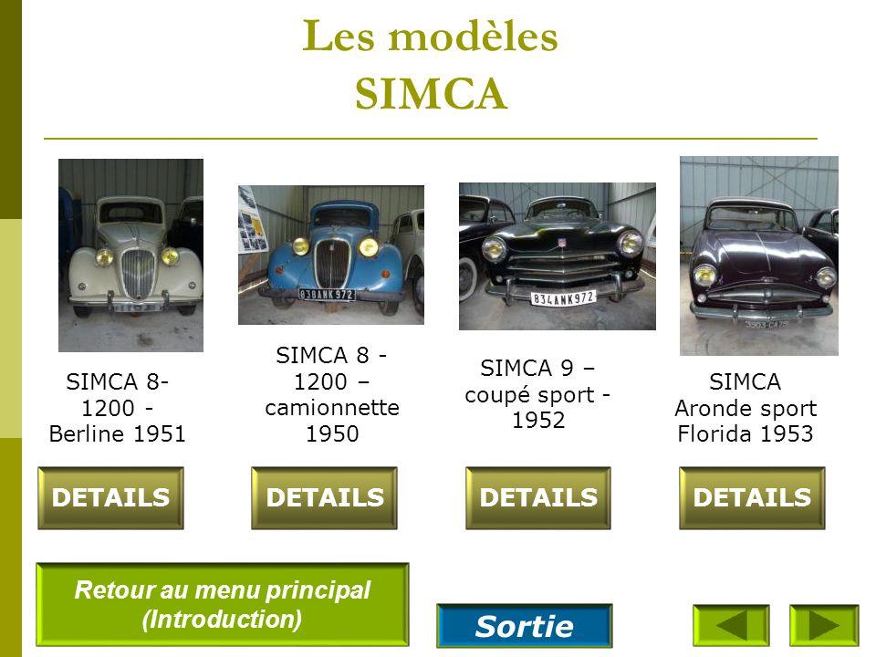 Les modèles SIMCA SIMCA 8– cabriolet- sport 1949 DETAILS SIMCA 8 - 1100 break woody 1948 SIMCA 8- 1200 - Berline 1951 SIMCA 8– 1200- Cabriolet 4 place