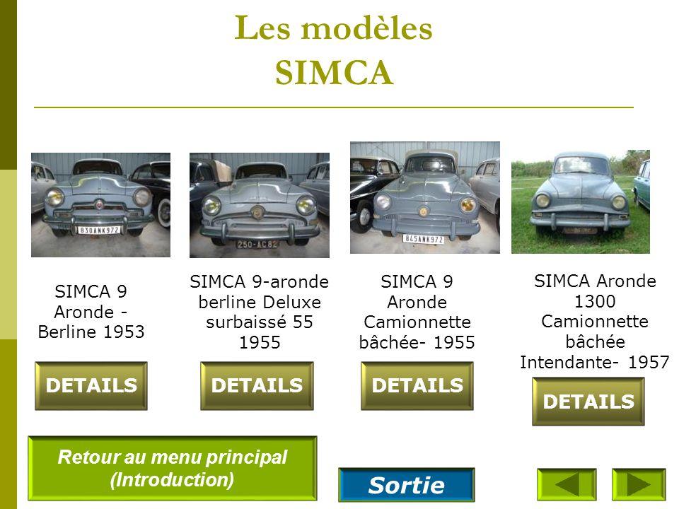 Les modèles SIMCA SIMCA 8 - 1200 – camionnette 1950 DETAILS SIMCA Aronde sport Florida 1953 SIMCA 8- 1200 - Berline 1951 SIMCA 9 – coupé sport - 1952