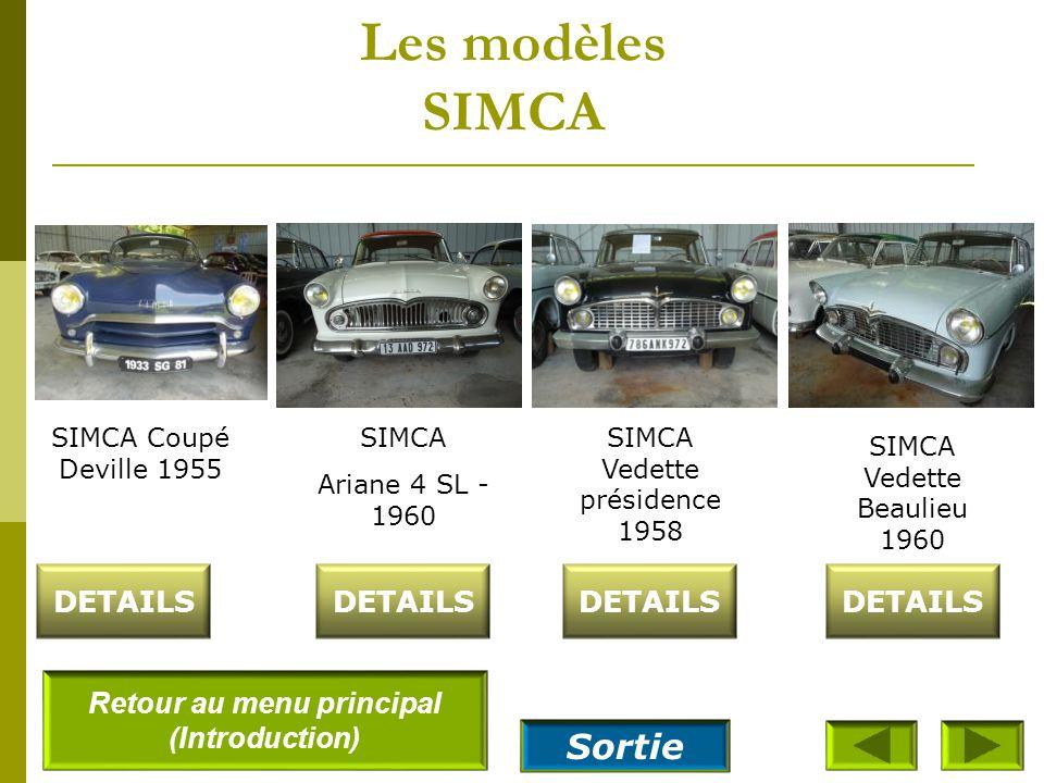 Les modèles SIMCA SIMCA Aronde 1300 - grand large spécial–Rue de la Paix - 1958 DETAILS SIMCA Aronde 1300 Elysée - 1958 SIMCA Aronde 1300 Deluxe -1957