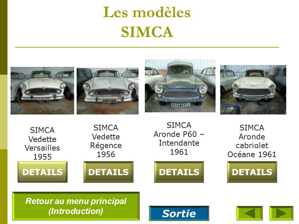 Les modèles SIMCA SIMCA Ariane 4 SL - 1960 DETAILS SIMCA Vedette présidence 1958 SIMCA Vedette Beaulieu 1960 SIMCA Coupé Deville 1955 DETAILS Retour a